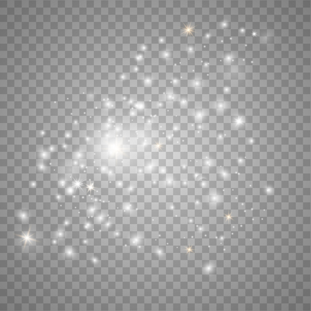 White sparks glitter special light effect. Sparkle on transparent background. Christmas abstract pattern. Sparkling magic dust particles