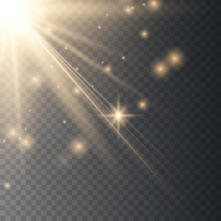 Vector transparent gold sunlight special lens flare light effect with gold sparkle.