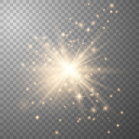 Gold Glow light effect. Star burst with sparkles