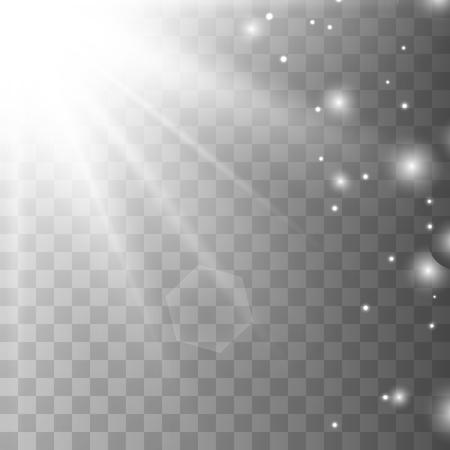 Vector transparent white sunlight special lens flare light effect with gold sparkle Ilustração