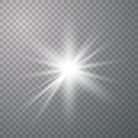 Light effect glow. Bright Star. White glowing light burst explosion with transparent