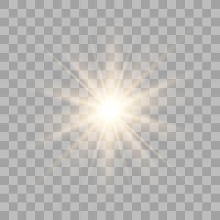 Gold light effect glow. Bright Star. White glowing light burst explosion with transparent Ilustração