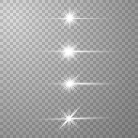 Glow white special light effect, flare, star and spark Isolated. Vector lights