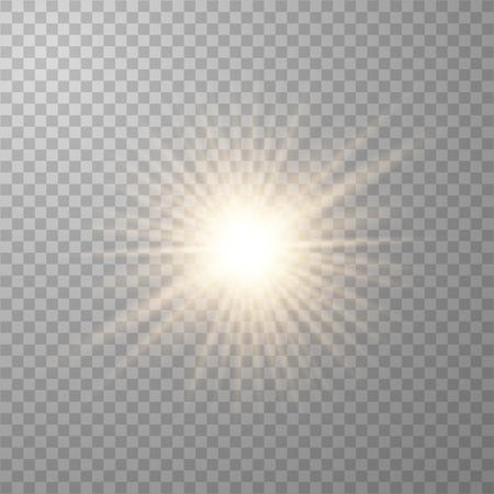 투명한 폭발과 함께 금빛 아름다운 빛이 폭발합니다. 벡터, 반짝임이 있는 완벽한 효과를 위한 밝은 그림. 광택 그라데이션의 투명한 광택, 밝은 플래시.