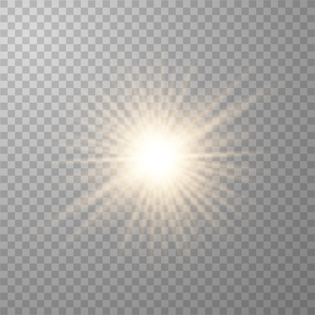 Gold beautiful light explodes with a transparent explosion. Vector, bright illustration for perfect effect with sparkles. Transparent shine of the gloss gradient, bright flash.