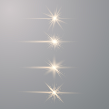 Glow gold special light effect, flare, star and spark Isolated. Bright star. Special glow effect. Vector lights
