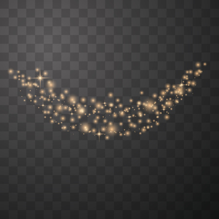 Gold glittering star dust sparkling particles on transparent background. Space comet tail. Vector illustration