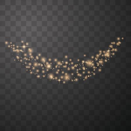 Złota błyszczące cząstki pyłu gwiezdnego musujące na przezroczystym tle. Ogon komety kosmicznej. Ilustracja wektorowa