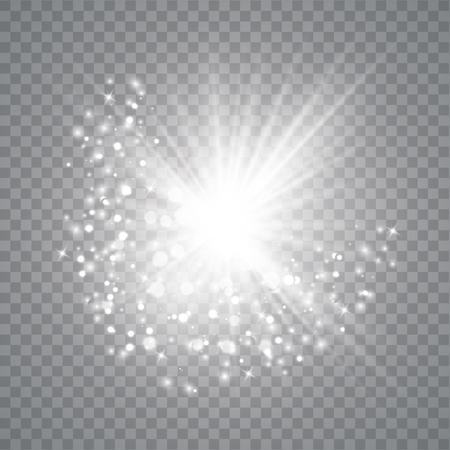 Effet de lumière luminescente. L'étoile a éclaté d'étincelles. Illustrateur de vecteur. Particules de poussière magique scintillantes