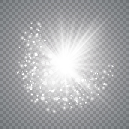 Glow light effect. Star burst with sparkles. Vector illustrator . Sparkling magic dust particles