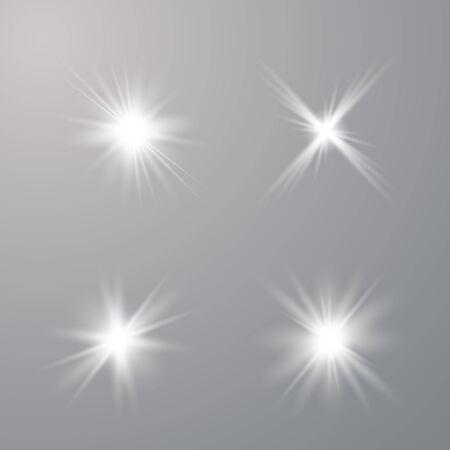 Set of Glow light  effect. Star burst with sparkles. The star flashed sparks. Vector illustration EPS10.