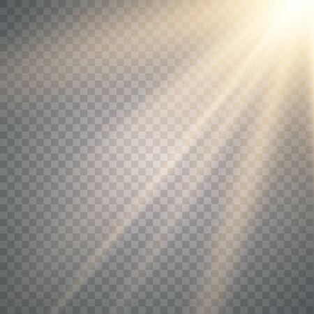 Effet de lumière flash de lentille spéciale de vecteur de lumière du soleil transparente. Flou de vecteur à la lumière de l'éclat.Sun