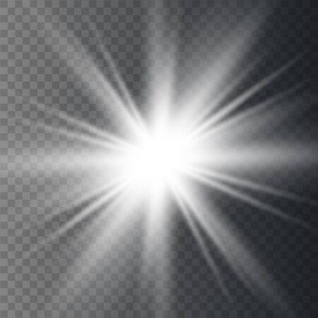 Glow light effect. Star burst with sparkles. Special effect isolated on transparent background. Illustration