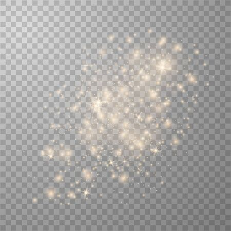 Glow light effect. Vector illustration. Christmas flash. Magic concept. Dust