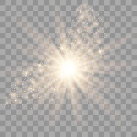 Effetto luce bagliore. Stella scoppiata con scintillii. Effetto speciale isolato su sfondo trasparente.