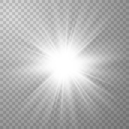 Glowing lights effects isolated on transparent background. Sun flash with rays and spotlight. Special effect isolated on transparent background.