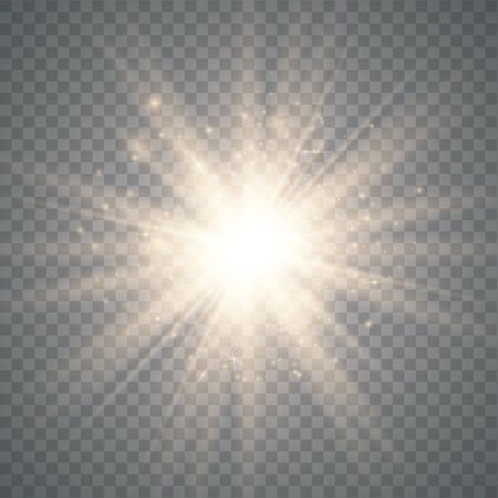 Glow light effect. Star burst with sparkles. Special effect isolated on transparent background. Vector illustration eps10