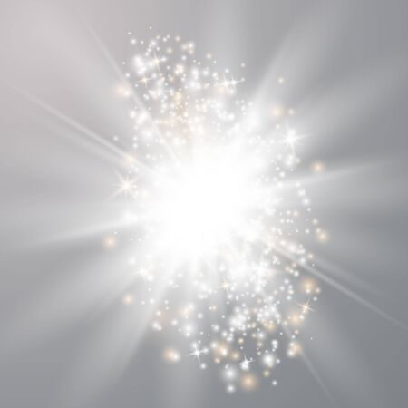 光るライトは、透明な背景に分離された効果を示します。太陽は光線とスポットライトで点滅します。透明な背景に分離された特殊効果。