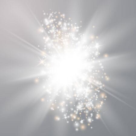 Effetti di luci incandescenti isolati su sfondo trasparente. Flash solare con raggi e riflettori. Effetto speciale isolato su sfondo trasparente.