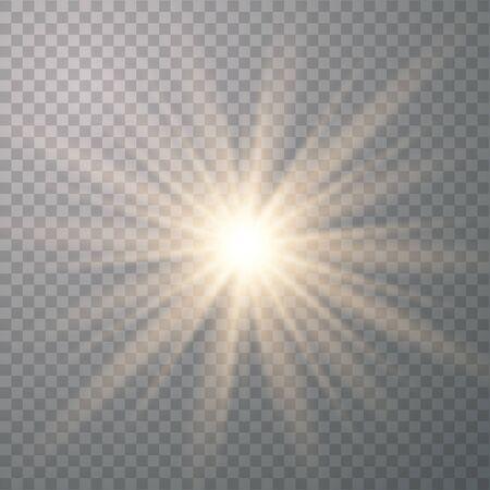 Efectos de luces brillantes aislados sobre fondo transparente. Destello de sol con rayos y foco. Efecto especial aislado sobre fondo transparente.