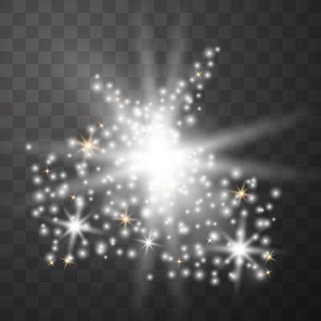 Weiß leuchtendes Licht explodiert auf einem transparenten Hintergrund. Funkelnde magische Staubpartikel. Heller Stern. Transparente strahlende Sonne, heller Blitz. Vektorgrafik