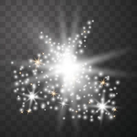 White glowing light explodes on a transparent background. Sparkling magical dust particles. Bright Star. Transparent shining sun, bright flash. Ilustración de vector