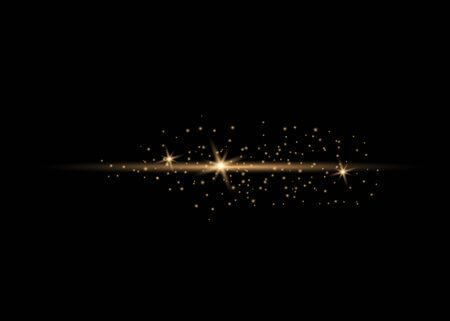 Glow line of dust and golden stars shine with a special light.  Christmas concept