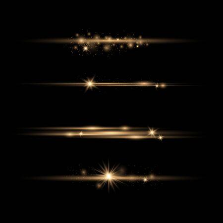 Set of Transparent Flares and Lighting Effects on transparent background. Ilustracja