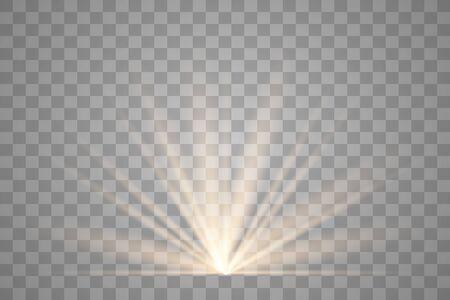 Effetto speciale bagliore di luce con raggi di luce e scintillii magici. Effetto luce vettoriale trasparente bagliore. Sole.