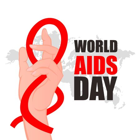 World AIDS Day. Hand with Red ribbon. Aids Awareness icon design for poster, banner, t-shirt. 1 December World AIDS Day. Vector illustration