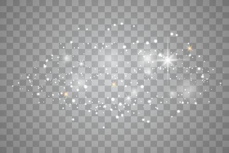 Weiße Funken und goldene Sterne. Glitzer spezieller Lichteffekt. Funkelnde Partikel des weißen Sternenstaubs lokalisiert auf transparentem Hintergrund.