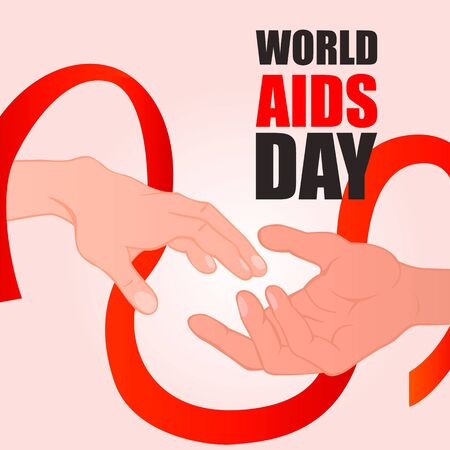 World AIDS Day. Holding hands with Red ribbon. Aids Awareness icon design for poster, banner, t-shirt. 1 December World AIDS Day. Vector illustration