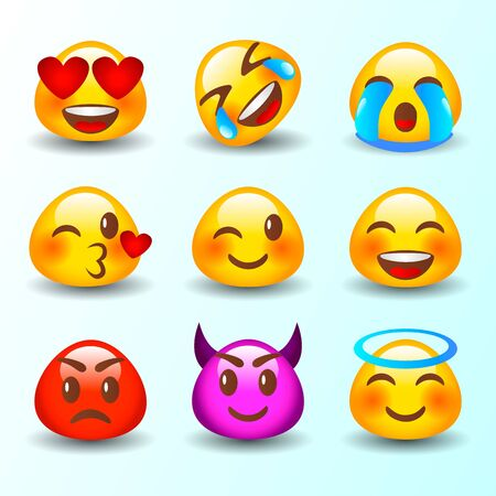 Abstract funny flat style emoji emoticon reactions color icon set. Emoticon. Vector style smile face icons - stock vector Illustration