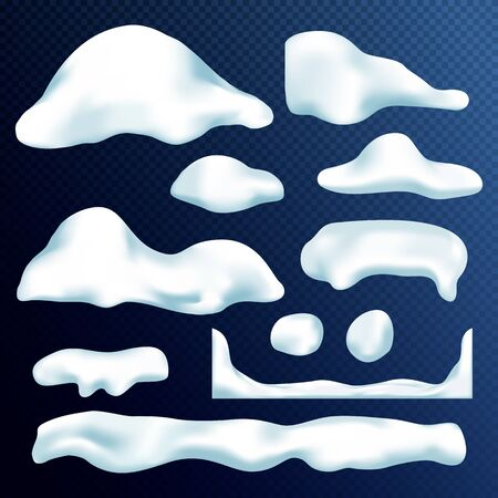 Vector set of snow caps, icicles, snowballs and snowdrift isolated on transparent background. Vector illustration. Winter decorations. Game art elements. Christmas, snow texture, white elements.
