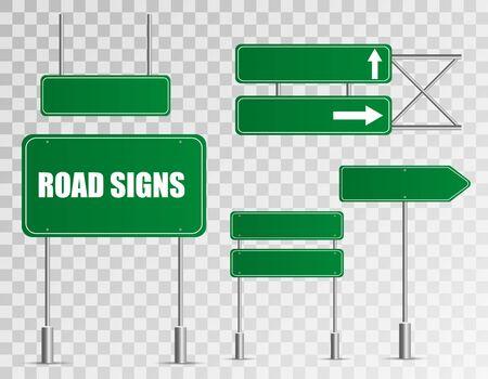 Conjunto de señales de tráfico aislado sobre fondo transparente. Ilustración de vector.