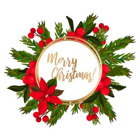 Iscrizione di buon Natale con decorazione ghirlanda di foglie. Vettoriali