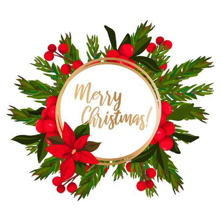 Merry Christmas lettering with wreath decoration of leaves. Vektorové ilustrace