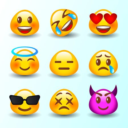 Abstract funny flat style emoji emoticon reactions color icon set. Vector collection.