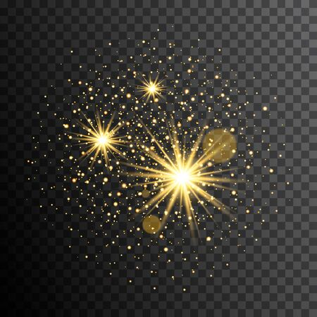 Gold sparks glitter special light effect. Vector sparkles on transparent background. Sparkling magic dust particles. Christmas flash