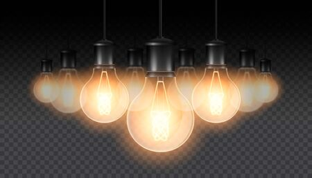 Set of realistic luminous lamps, lamps hanging on a wire. Incandescent lamp.Isolated on a checkered dark background. Vector illustration Ilustração