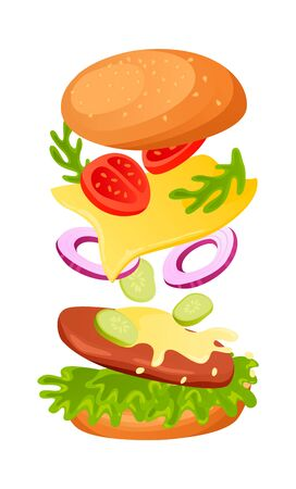 Burger with Chees. Template on isolated background. Can be used for ads or in Restaurant banner. Vector illustration
