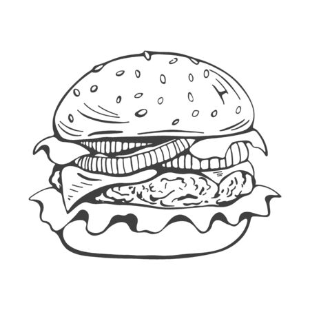 painted burger, great delicious sandwich, black and white grunge retro poster. Vector illustration