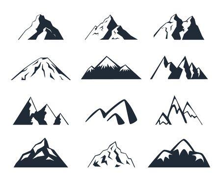 Reihe von Bergen. Bergsymbole auf weißem Hintergrund Vektorgrafik