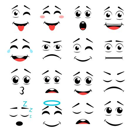 Set of different emoticons. Vector illustration emoticon cartoon Çizim