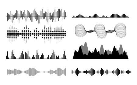 Black sound waves. Music audio frequency, voice line waveform, electronic radio signal, volume level symbol. Vector illustration