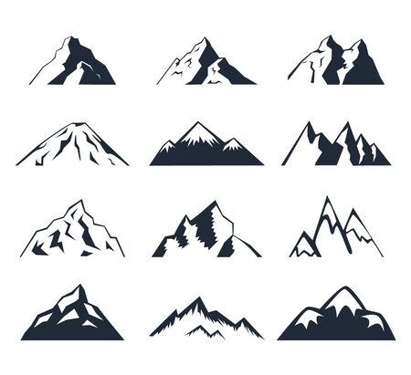 Set of mountains. Collection of stylized mountain landscapes. Black and white illustration of mountains.