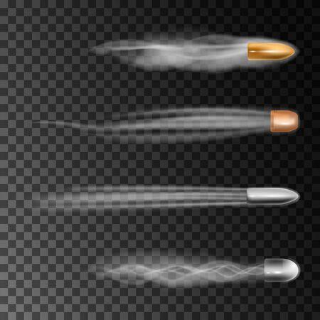 Realistic bullet flies. Smoke traces isolated on transparent background.