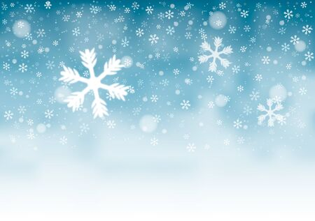 Natural Winter Christmas background with sky, heavy snowfall, snowflakes in different shapes and forms, snowdrifts. Winter landscape. Vector illustration