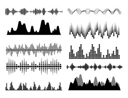 Onde sonore nere. Frequenza audio musicale, forma d'onda della linea vocale, segnale radio elettronico, simbolo del livello del volume. Illustrazione vettoriale