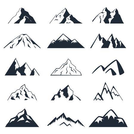 Icone di montagna impostate su uno sfondo bianco.